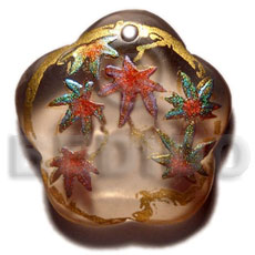 Philippine scallop 35mm transparent brown resin hand painted pendants