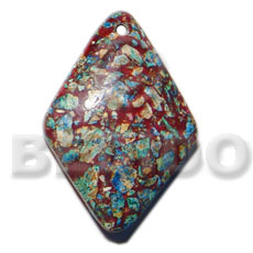 Fashion diamond crushed limestones in resin pendants