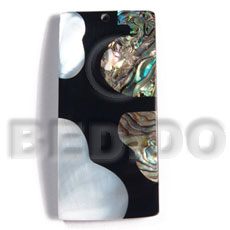 Cebu 55mmx27mm laminated rectangular paua kabibe shell shell pendant