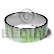 laminated neon green hammershell in 1 inch  stainless metal / 65mm in diameter - Shell Bangles