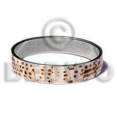 laminated cowrie shell  in 1/2 inch  stainless metal / 65mm in diameter - Shell Bangles