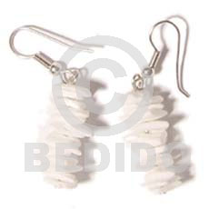 Philippine dangling white rose shell earrings