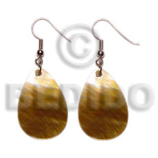 Philippines dangling teardrop brownlip 20mmx30mm shell earrings