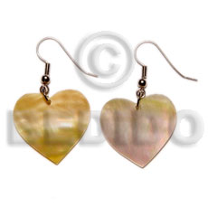 Handmade dangling heart mop 25mmx25mm shell earrings