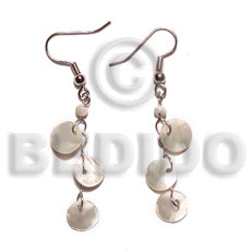 Natural dangling triple 10mm round hammershell shell earrings