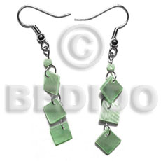 Natural dangling 8mm pastel green shell earrings