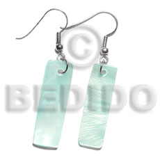Philippine dangling 30x10mm aqua blue hammershelll shell earrings