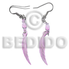 Native dangling 10x40mm lilac hammershell leaf shell earrings