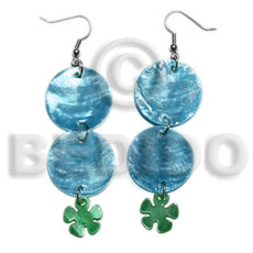 Ethnic dangling double round 25mm blue shell earrings