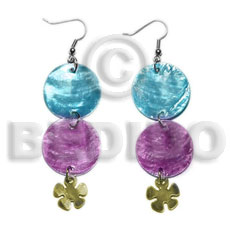 Wholesale dangling double round 25mm light shell earrings