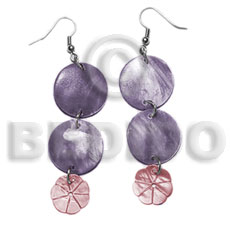 dangling double round 20mm lavender hammershell  12mm pink hammershell flower - Home