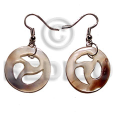 Natural dangling round hammershell 30mmx30mm shell earrings