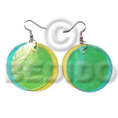 dangling double aqua blue yelow combination capiz round 35mm - Home