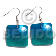 Natural dangling 25mm square hammershell pendant shell earrings
