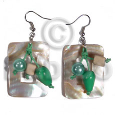 Ethnic dangling 40mmx30mm rectangular kabibe shells shell earrings