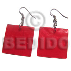 Philippine dangling 30mm square red capiz shell earrings