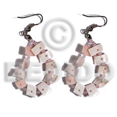 Natural dangling floating pink rose shell earrings