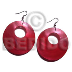 Ladies dangling red round 35mm kabibe shell earrings