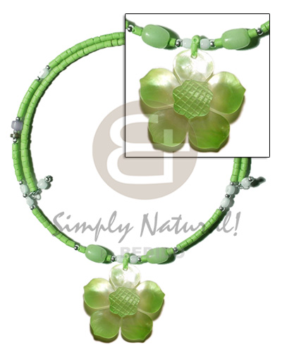 Cebu neon green 2-3mm coco heishe shell necklace
