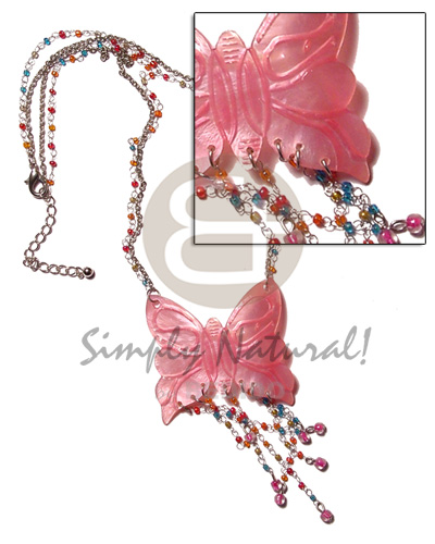 Fashion tassled 50mm pink butterfly hammershell shell necklace