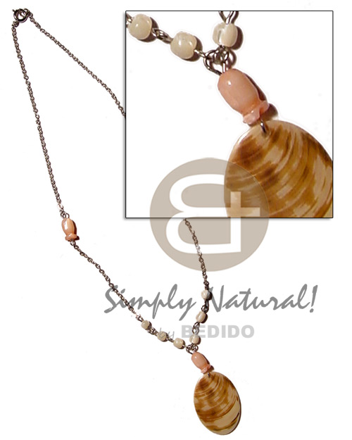 40mm melo shell pendant  skin in metal chain & shell beads accent - Home
