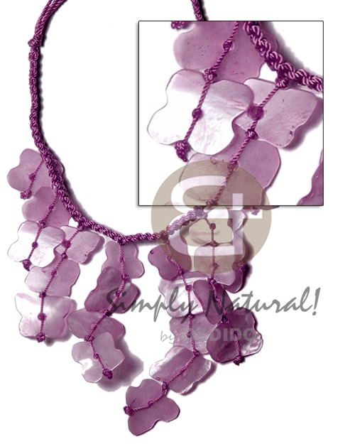 Philippine subdued lavender macrame dyed shell necklace