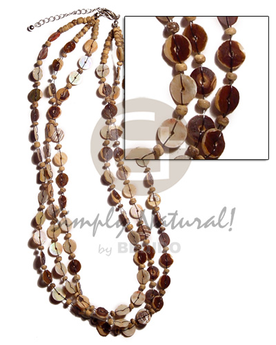 Natural 3 layers floating green shell necklace