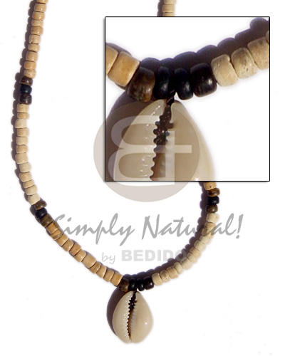 Ethnic 4-5 coco pukalet bleach shell necklace