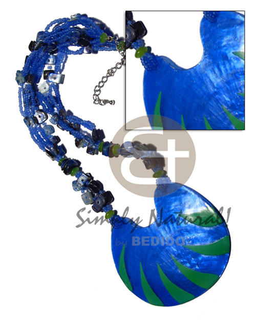 Teens 5 layers glass beads shell necklace