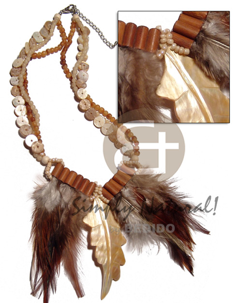 Philippine 3 layers horn beads and shell necklace