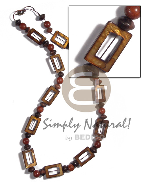 Ethnic 30mmx20mm rectangular laminated golden amber shell necklace