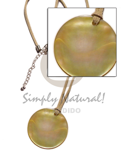 Philippines round mop 40mm on leather shell necklace
