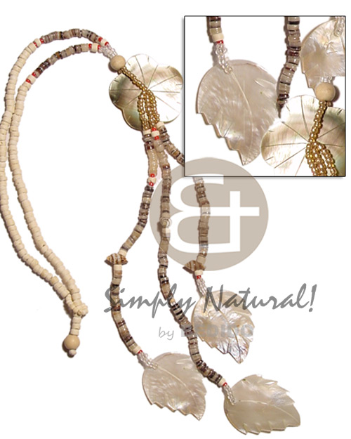 Natural 4-5mm coco heishe bleach shell necklace
