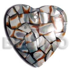 45mm heart laminated cowrie tiger shell chips  resin backing - Shell Pendant