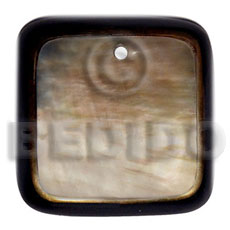Handmade 50mm square brownlip laminated in shell pendant