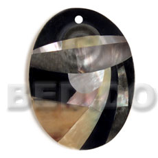 Fashion oval 55mmx42mm black resin shell pendant