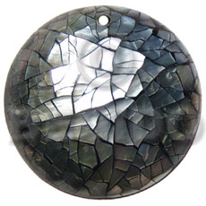 Wholesale 40mm round blacklip shell cracking shell pendant