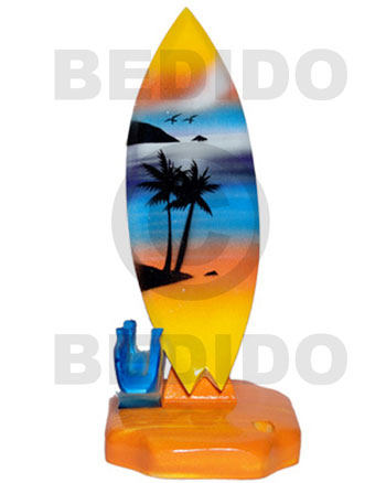 Cebu 18.5inx3 14inx3.4in handpainted wood removable surfboard surfboards