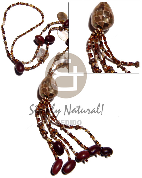 Cebu dangling oval brownlips beans shell necklace