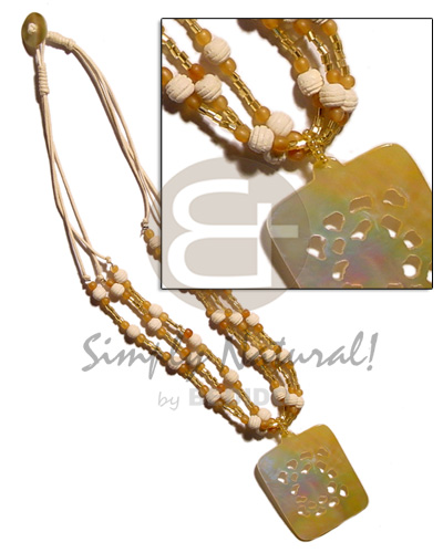 Natural 3 layer wax cord shell necklace