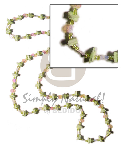 Ethnic 36 in. continuous mint green shell necklace