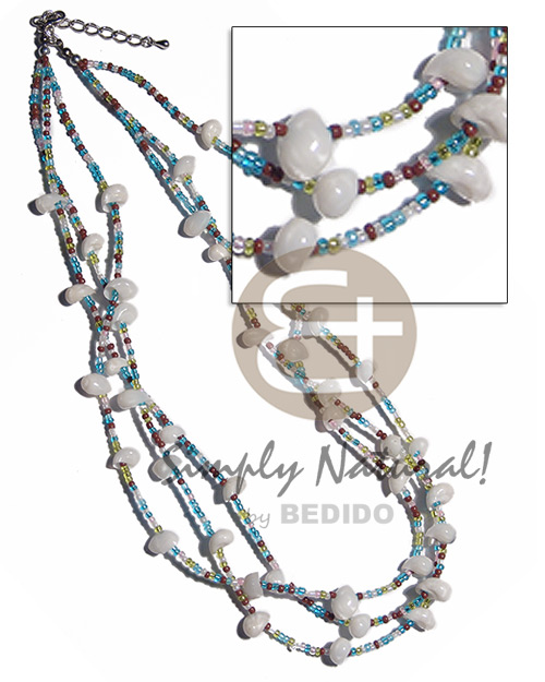 Wholesale 3 layers glass beads shell necklace