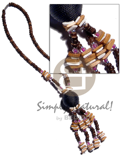 Handmade tassled 4-5mm coco pokalet wood necklace