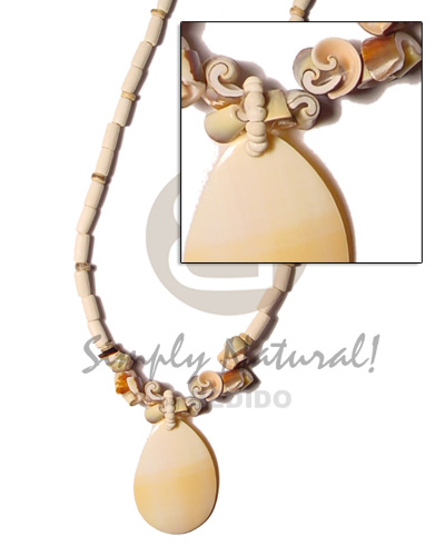 Natural bleach wood tube everlasting shell shell necklace