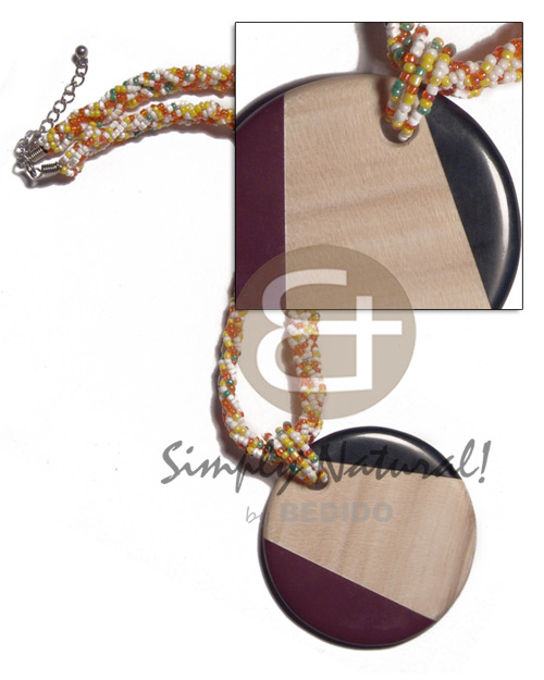 Wholesale round 60mm patched ambabawod wood wood necklace