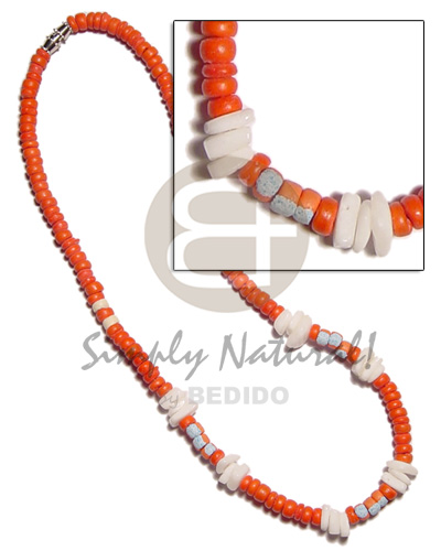 Unisex 4-5mm orange coco pokalet. coco necklace