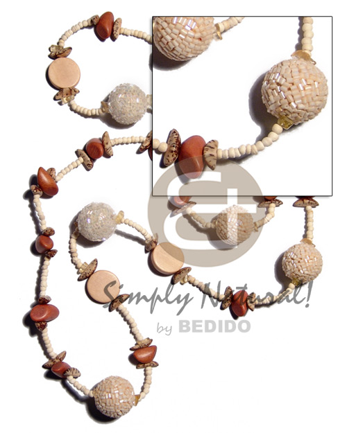 Unisex 2-3mm coco pokalet. bleach wood necklace