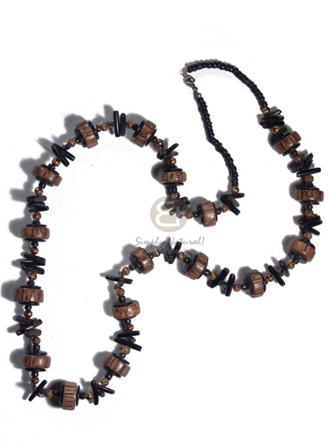 Handmade 4-5mm coco pokalet black 20mmx8mm wood necklace