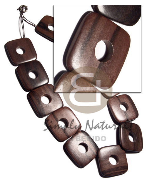 Natural 35mmx35mmx5mm square round edges wood necklace