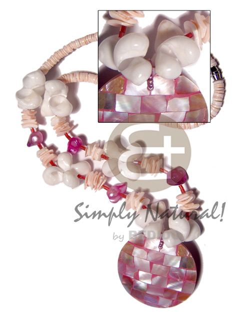 Handmade 4-5mm white clam heishe shell necklace